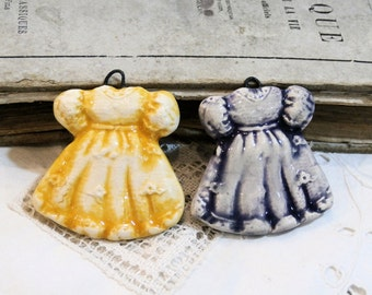 made TO order - 1 handmade ceramic clay pendant - doll dress- poppy in the sky - choose your color