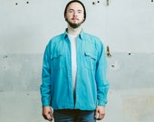 Vintage 90s Men's WESTERN Denim Shirt . Blue Snap Button Faded Shirt 90s Grunge Button Down Jacket 1990s . size Medium Large XL