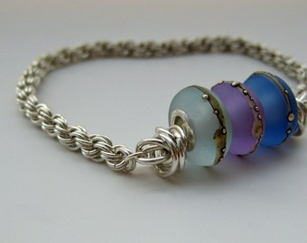 Blue Waves Sterling Silver Chainmaille Bracelet