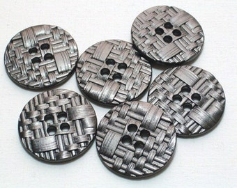 6 Gunmetal Silver Color Metal Buttons 23mm Set Very Nice Buttons