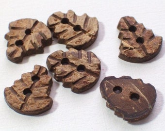 18 Leaf Buttons Carved Coconut Shell Buttons Sewing Embellishment Crafts