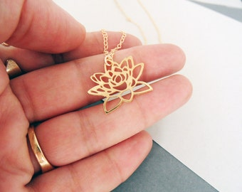 Mini Lotus Necklace, lotus jewelry, lotus necklace, gold flower, flower necklace, flower jewelry, gift for her, gift under 50