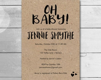 Baby Shower Invitation / Gender Neutral Oh Baby Kraft Paper / Printable Shower / PRINTABLE  INVITATION / #9241