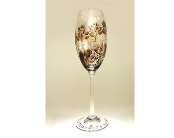 Hand Painted Crystal Champagne Glasses - Rich Espresso Brown Bronze Gold Roses Set of 4 - 50th Wedding Anniversary Toasting Flutes