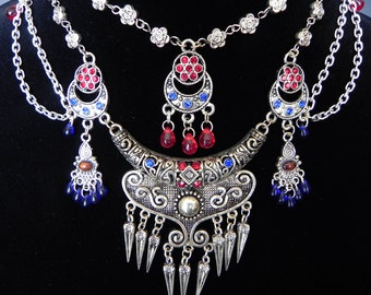 Tribal Belly Dance Inspired Silver Necklace in Red and Blue