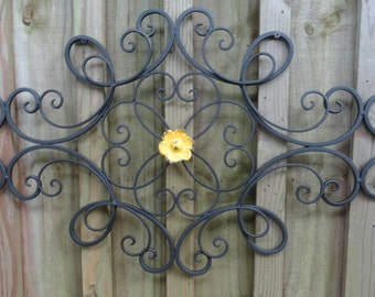 Shabby Iron Metal Wall Decor, distressed yellow flower, wall art, Shabby and Chic, Home Decor, Cottage Wall Decor