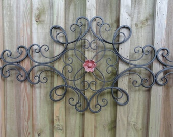 Cottage Chic Iron Metal Wall Decor, distressed country red flower, wall art, Shabby and Chic, Home Decor, Cottage Wall Decor