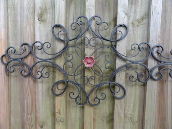 Red Country Wall Decor : Cottage chic iron metal wall decor distressed country red