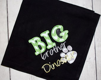 Big brother or Big Sister bandana with Paw print applique-- Customizable colors
