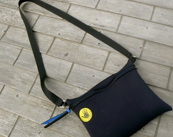Recycled WetSuit Crossbody Bag Black with Body Glove Logo