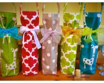 Wine Tote, Wine Gift Bag, Holiday Wine Tote - Custom Wine Tote - [WT...] - Choose your fabric & ribbon