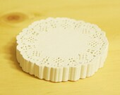 Plain White ROUND paper Flower LACE DOILY cupcake liner