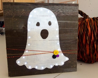 Mini Pallet light up Boo Ghost Halloween