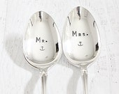 Mr. and Mrs. Spoon Set Nautical Wedding Anchor Coffee Spoon Set