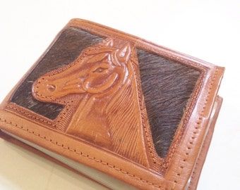 Vintage tooled leather wallet, horse, pony, calf hair,  mexico
