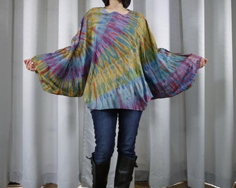 Boho Hippie Funky Oversize Scoop Neck Cape Blouse Cloak Batwing Tie Dye MultiColor Cotton Jersey Tee Women Tops Gift For Her Size 6 To 1X
