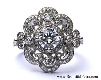 DUCHESS - 14k white gold - Floral - Round Diamond Engagement Ring or RIGHT Hand Ring - Weddings- Brides - Luxury - Bp0012