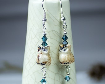 Ceramic owl Earrings, Blue Swarovski jewelry crystals Rustic Boho Woodland Jewelry Beaded Earrings Owls Modern Gift for her for mom under 30