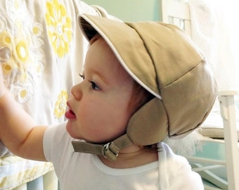 Vintage Style BOYS CAP Navy, Khaki or Red -  with earflaps, adjustable strap