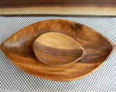 Vintage Home Decor Trays Wood serving bowls mid century kitsch