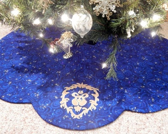 World of Warcraft Inspired WOW Alliance Christmas Tree Skirt