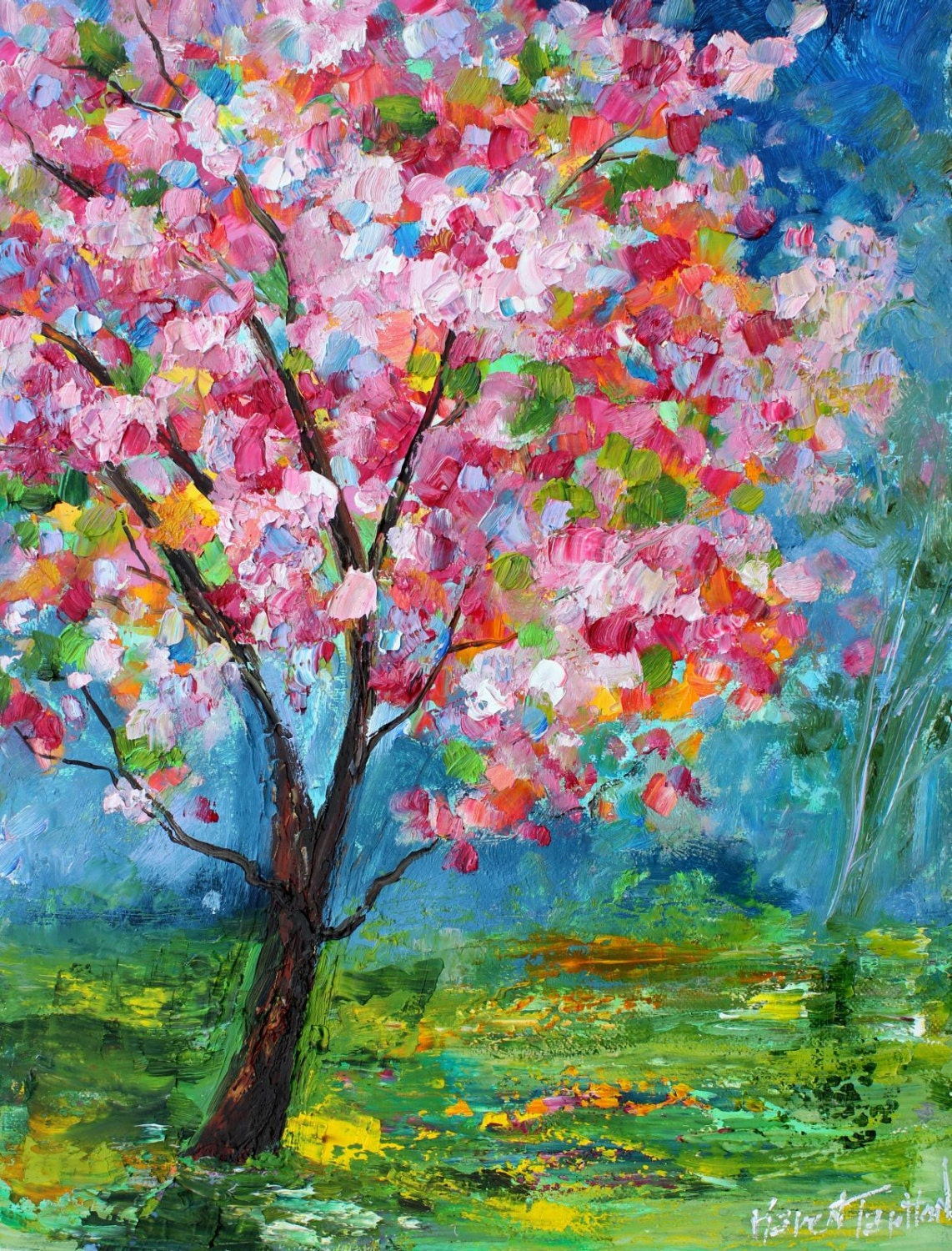 spring motif painting landscape - photo #2