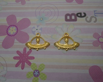 10pcs gold color UFO BOAT findings 31mmx23mm
