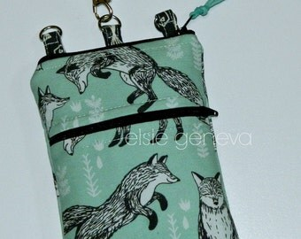 Foxes Phone Case Made to Order Twill Aqua or Denim Blue Black Fish Linen Wristlet Shoulder Strap iPhone 4 5  6 Plus Samsung Note GS7 Galaxy