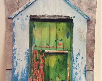 Original watercolor of old funky door