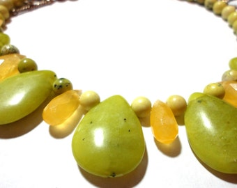 Olive Jade Necklace Olive Serpentine Jade Teardrop and Honey Calcite Briolette Necklace with Sterling
