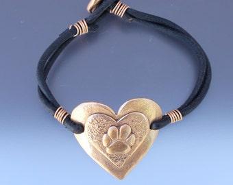 Dog Paw on Heart Bracelet - Dog Paw Bracelet - Dog Paw Jewelry - Paw Jewelry - Dog Jewelry - Animal Jewelry - Dog Lovers Jewelry - Hearts