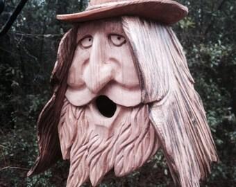 Wood Spirit Unique Old Man rustic Hand Carved Cedar Birdhouse Happy Cowboy
