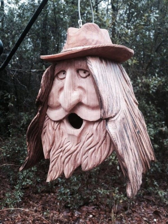 Items similar to Wood Spirit Unique Old Man rustic Hand ...Old Man Face Bird Houses