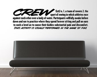Crew Definition Rowing Wall Quotes Sayings Words Lettering Removable Rowing Wall Decal