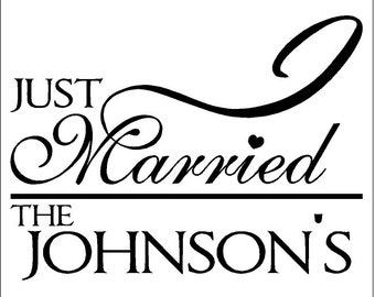 Personalized Just Married Wall Decal Removable Love Wall Sticker Wedding Lettering