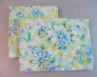 "Pair of Standard Pillowcases - Vintage -  Blue / Yellow Floral  ""Marvelaire by Springmaid"""