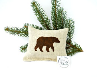 Brown Bear Balsam Fir Sachet in Linen - Maine Balsam Fir Pillow - Bear Sachet in Linen Filled with Maine Balsam - Bear Pillow