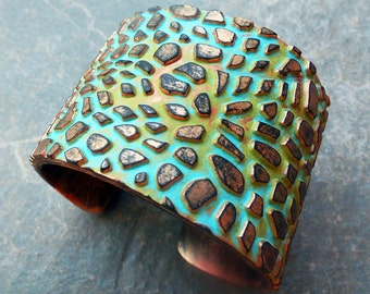 The cobblestone road polymer clay cuff bracelet