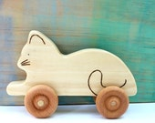 cat wooden push toy, cat rolling toy, wooden waldorf toys, waldorf baby toys, wood baby toy