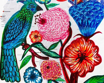 The Journey - Fine Art Print. Folk flowers, maps prints, art painting flowers, bohemian, folk, funky, naive, primitive.