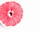 Pink Grapefuit, Food Photography, White, Pink, Minimalist, Grapefruit Photo, Food Print, Large Wall Art