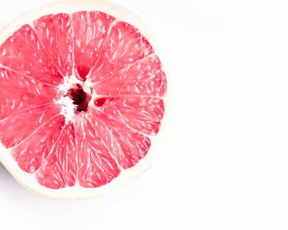Pink Grapefuit, Food Photography, White, Pink, Minimalist, Grapefruit Photo, Food Print, Large Wall Art