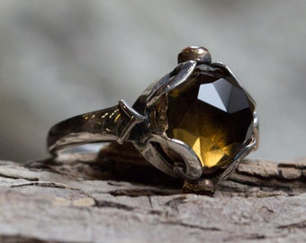 Smoky quartz Ring, unique engagement ring, silver gold ring, boho ring, multistone ring, gypsy ring, boho ring - Hold my hand - R2162