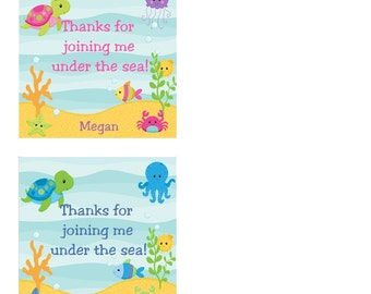 Under the Sea Birthday Party Favor Tags- Gift Tags - Set of 20