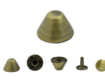 20 pcs. Brush Brass Cone Spikes Double Cap Rivets Studs Findings 12 mm.(2 Sides) Co BB 153
