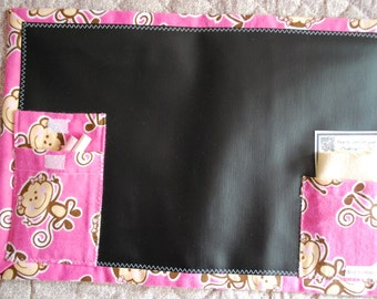 Chalkboard to Go travel placemat - silly pink monkeys