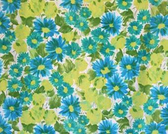 Retro floral print tablecloth. Hawaiian print, daisies, aqua, blue green, yellow, chartreuse, homemade, summer.