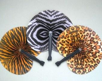 Jungle Party Supply Safari Party Favor African Party Decor Party Fan Favor Hand Fan Decor Folding Fan Decoration Animal Print Tiger Leopard