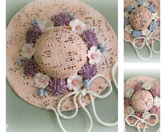 Wall Hat Decor Shabby Chic Decor Victorian Decor Bedroom Decor Clay Flower Hat Wall Decor Clay Floral Hat Wall Hanging Hat Decoration