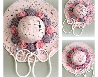 Pink Wall Hat Decor Shabby Chic Decor Victorian Decor Bedroom Decor Clay Flower Hat Wall Decor Clay Floral Hat Wall Hanging Decorative Hat